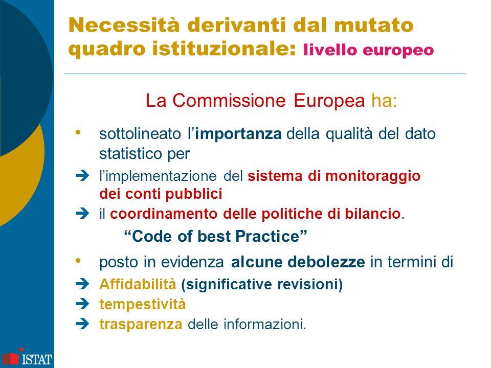 Necessità derivanti dal mutato quadro istituzionale: livello europeo La Commissione Europea ha: sottolineato l'importanza della qualità del dato stati