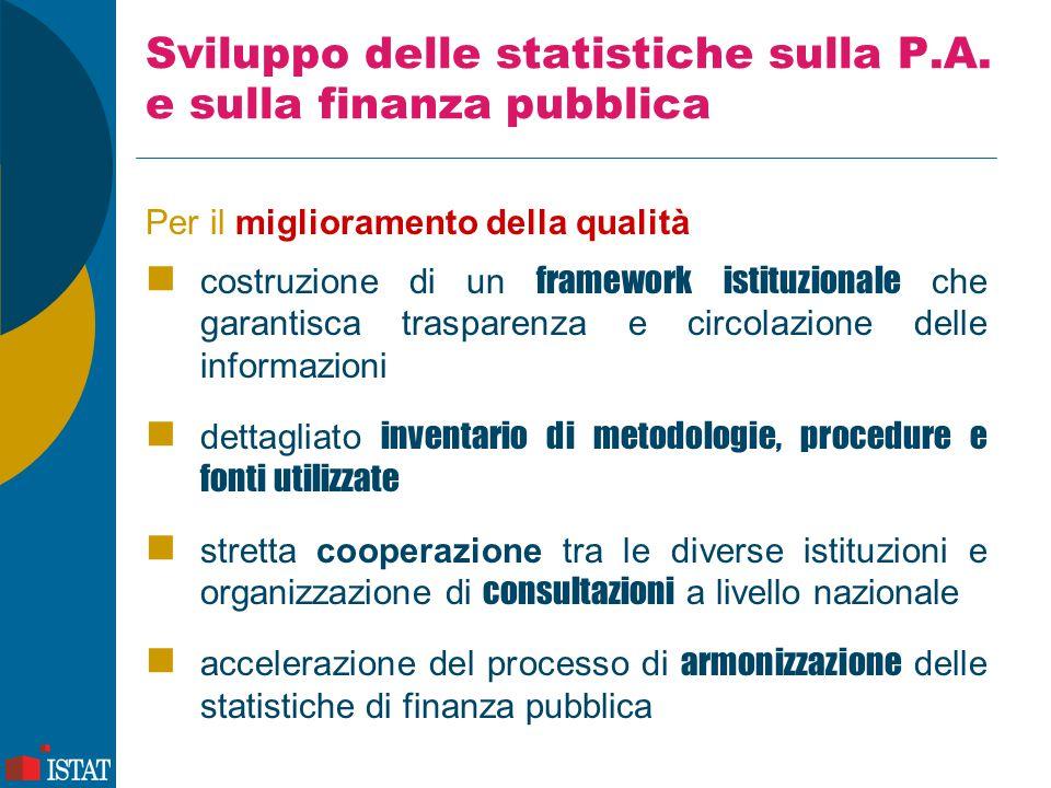 Sviluppo delle statistiche sulla P.A. e sulla finanza pubblica Per il miglioramento della qualità costruzione di un framework istituzionale che garant