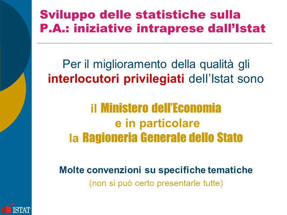 Sviluppo delle statistiche sulla P.A.: iniziative intraprese dall'Istat Per il miglioramento della qualità gli interlocutori privilegiati dell'Istat s