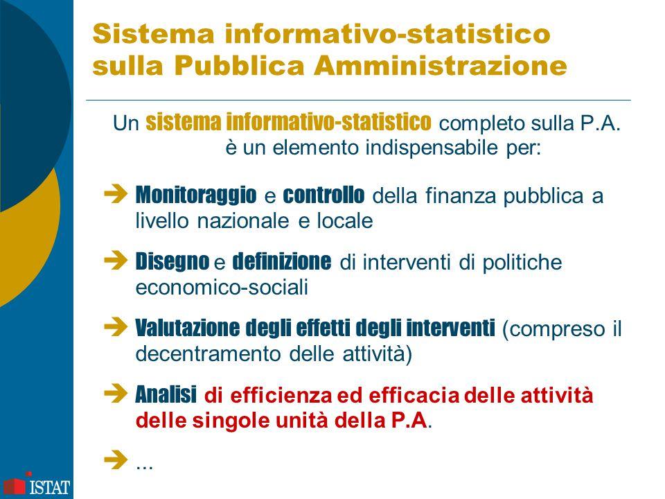 Caratteristiche di un sistema informativo-statistico Un sistema-informativo statistico sulla P.A.