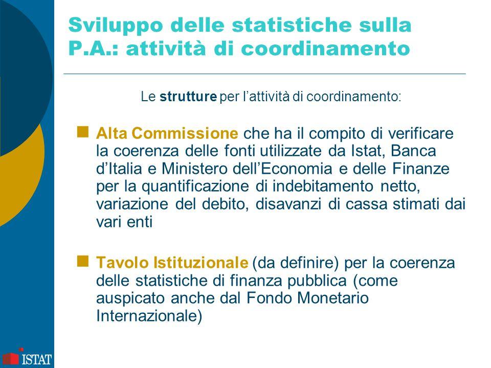Sviluppo delle statistiche sulla P.A.: attività di coordinamento Le strutture per l'attività di coordinamento: Alta Commissione che ha il compito di v