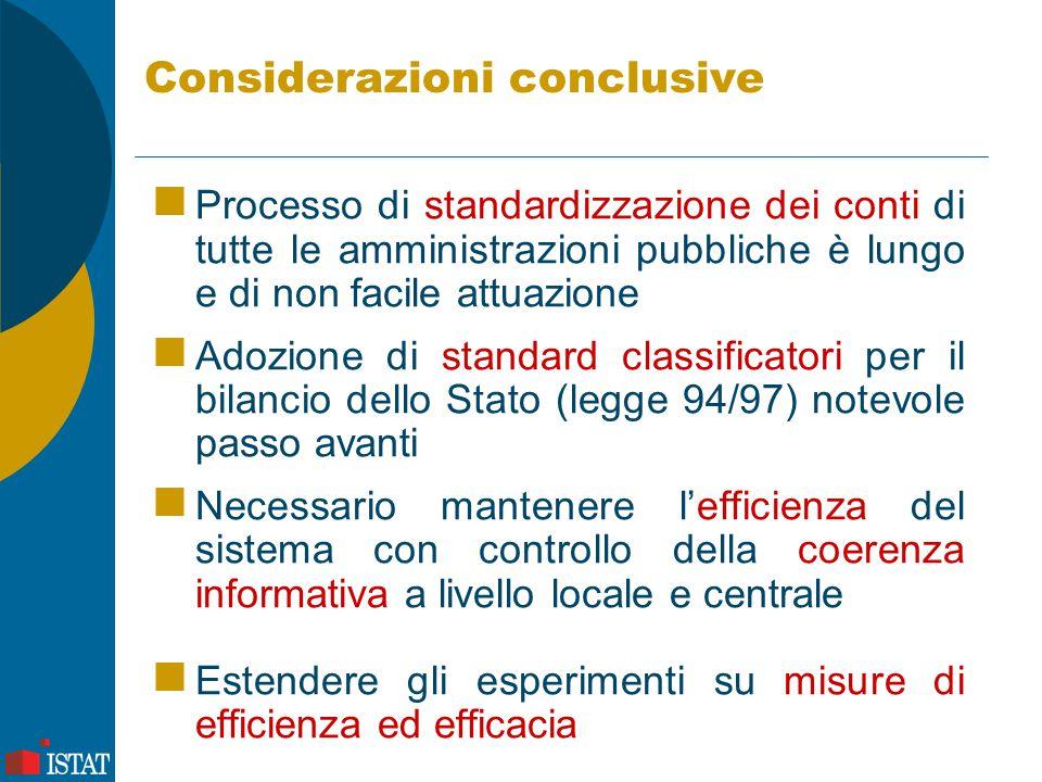 Considerazioni conclusive Processo di standardizzazione dei conti di tutte le amministrazioni pubbliche è lungo e di non facile attuazione Adozione di