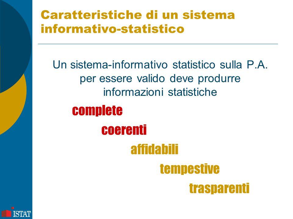 Esiste un sistema informativo- statistico completo.