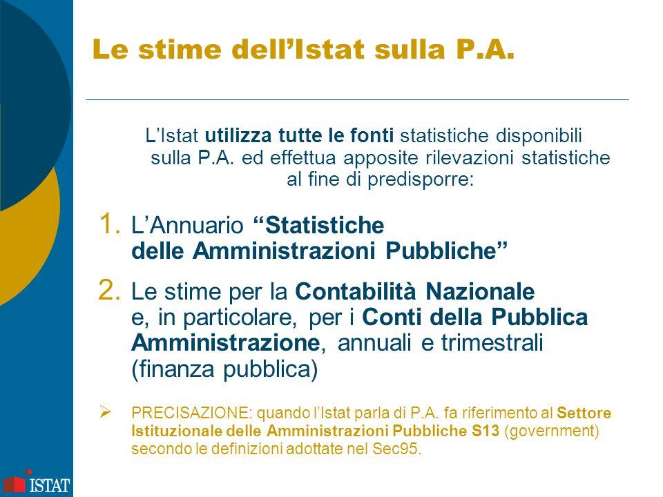 Le stime dell'Istat sulla P.A. L'Istat utilizza tutte le fonti statistiche disponibili sulla P.A. ed effettua apposite rilevazioni statistiche al fine