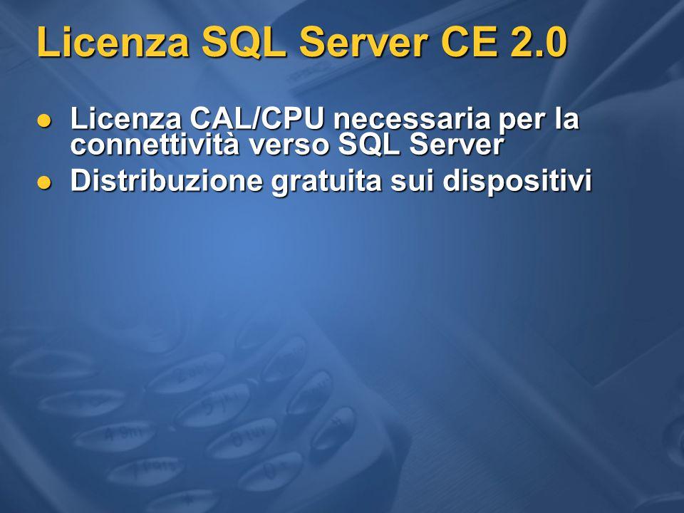 Licenza SQL Server CE 2.0 Licenza CAL/CPU necessaria per la connettività verso SQL Server Licenza CAL/CPU necessaria per la connettività verso SQL Server Distribuzione gratuita sui dispositivi Distribuzione gratuita sui dispositivi