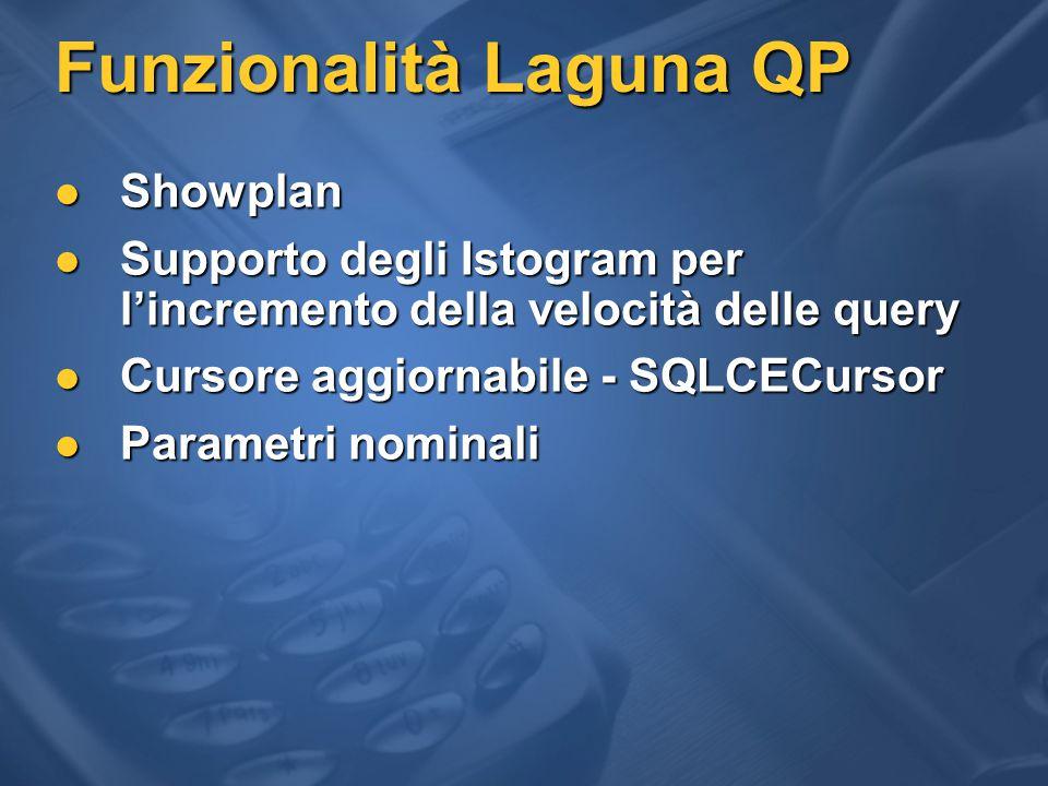 Funzionalità Laguna QP Showplan Showplan Supporto degli Istogram per l'incremento della velocità delle query Supporto degli Istogram per l'incremento della velocità delle query Cursore aggiornabile - SQLCECursor Cursore aggiornabile - SQLCECursor Parametri nominali Parametri nominali