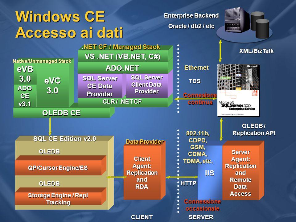 Connettività Utilizza tecnologia web Utilizza tecnologia web  Comunicazione HTTP  Internet and Intranet  Sicurezza tramite IIS  Autenticazione (anonymous, basic, NTLM)  Autorizzazioni  Encryption (SSL)  Accesso tramite firewall