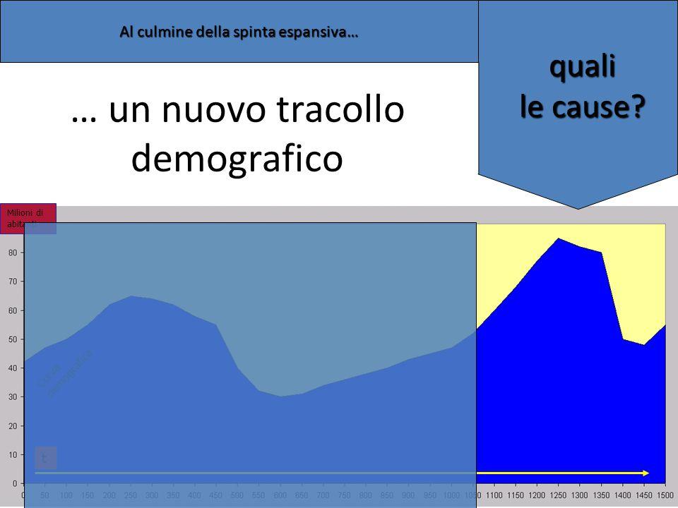 Milioni di abitanti t Curva demografica … un nuovo tracollo demografico quali le cause? Al culmine della spinta espansiva…