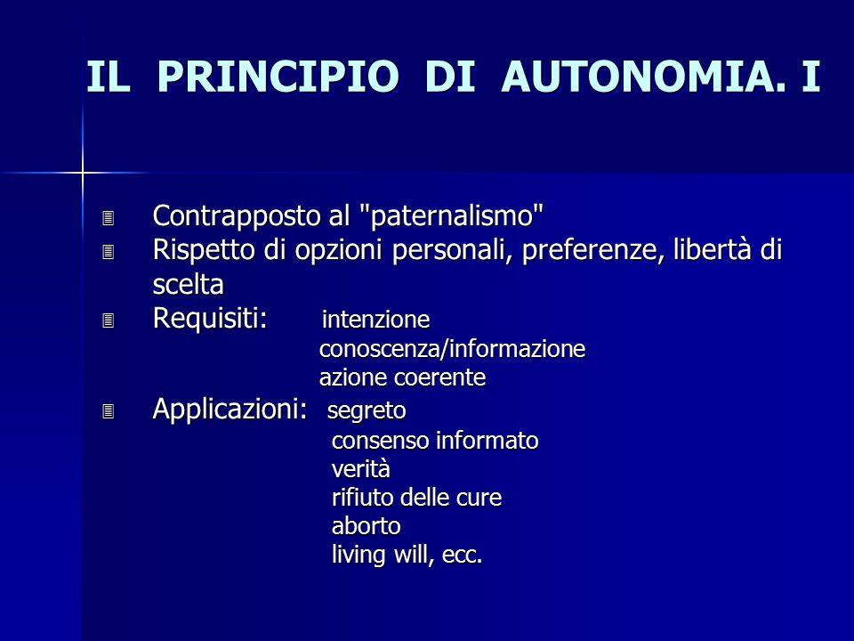 IL PRINCIPIO DI AUTONOMIA. I 3 Contrapposto al