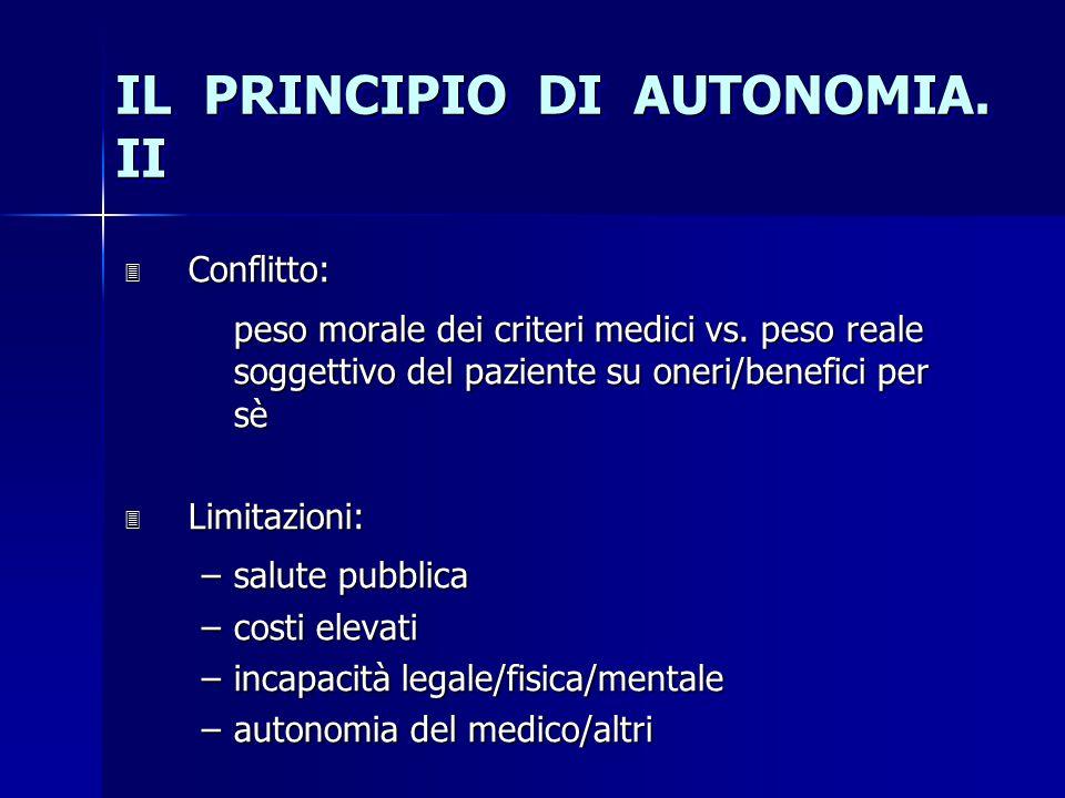 IL PRINCIPIO DI AUTONOMIA. II 3 Conflitto: peso morale dei criteri medici vs. peso reale soggettivo del paziente su oneri/benefici per sè 3 Limitazion