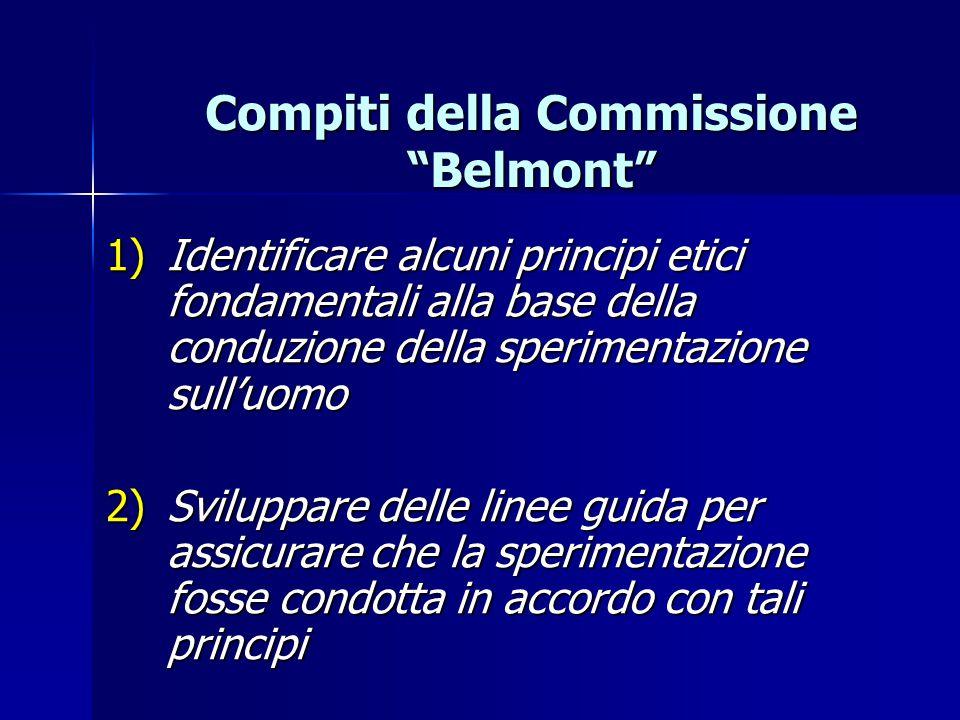 Compiti della Commissione Belmont 1) Identificare alcuni principi etici fondamentali alla base della conduzione della sperimentazione sull'uomo 2) Sviluppare delle linee guida per assicurare che la sperimentazione fosse condotta in accordo con tali principi