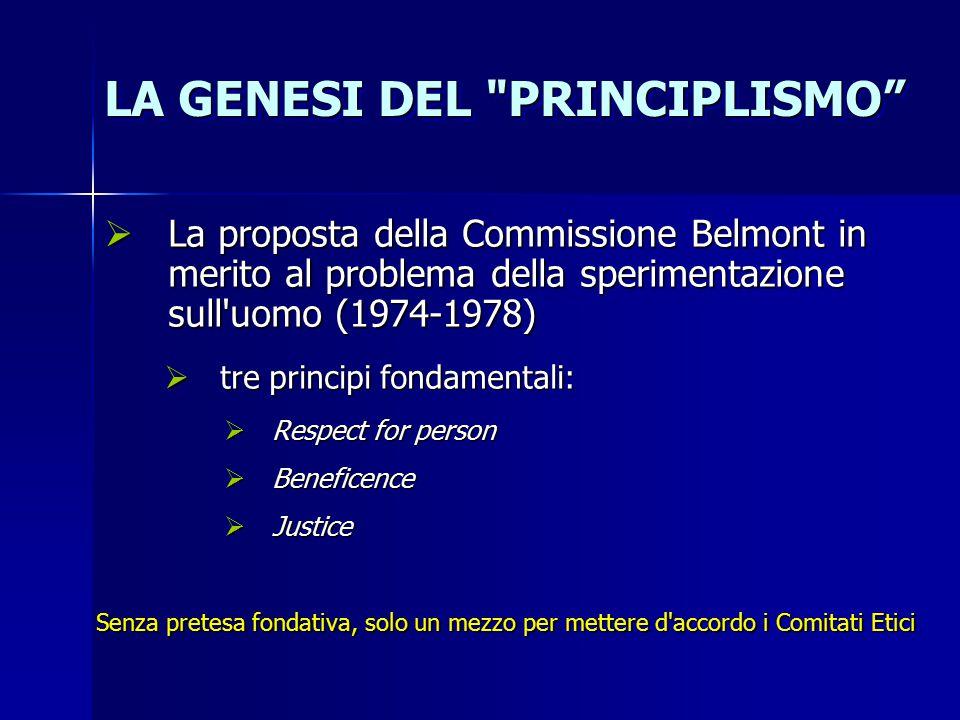 LA GENESI DEL PRINCIPLISMO  La proposta della Commissione Belmont in merito al problema della sperimentazione sull uomo (1974-1978)  tre principi fondamentali:  Respect for person  Beneficence  Justice Senza pretesa fondativa, solo un mezzo per mettere d accordo i Comitati Etici