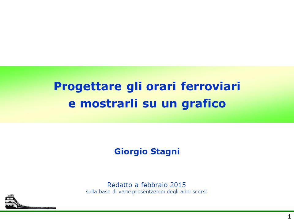 11 Progettare gli orari ferroviari e mostrarli su un grafico Giorgio Stagni Redatto a febbraio 2015 sulla base di varie presentazioni degli anni scors