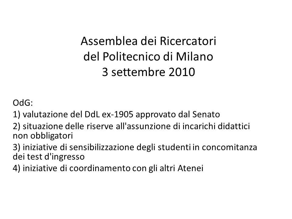Assemblea dei Ricercatori del Politecnico di Milano 3 settembre 2010 OdG: 1) valutazione del DdL ex-1905 approvato dal Senato 2) situazione delle rise