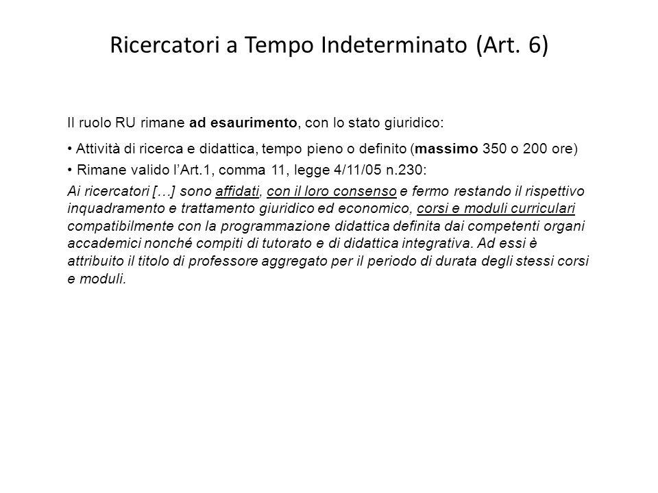 Ricercatori a Tempo Indeterminato (Art. 6) Il ruolo RU rimane ad esaurimento, con lo stato giuridico: Attività di ricerca e didattica, tempo pieno o d