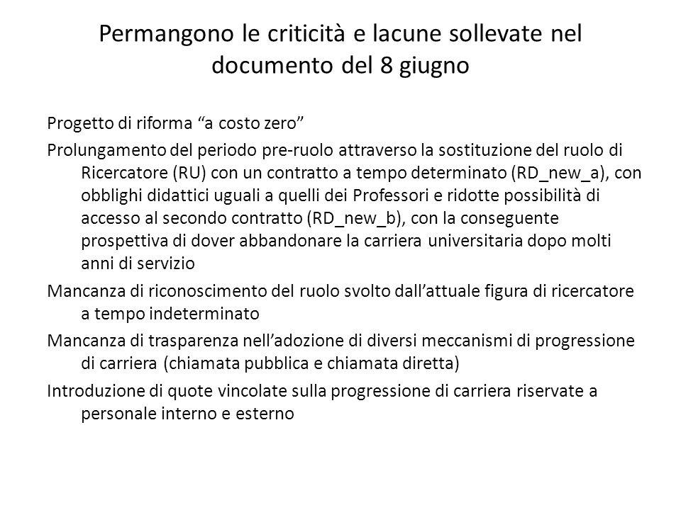"""Permangono le criticità e lacune sollevate nel documento del 8 giugno Progetto di riforma """"a costo zero"""" Prolungamento del periodo pre-ruolo attravers"""