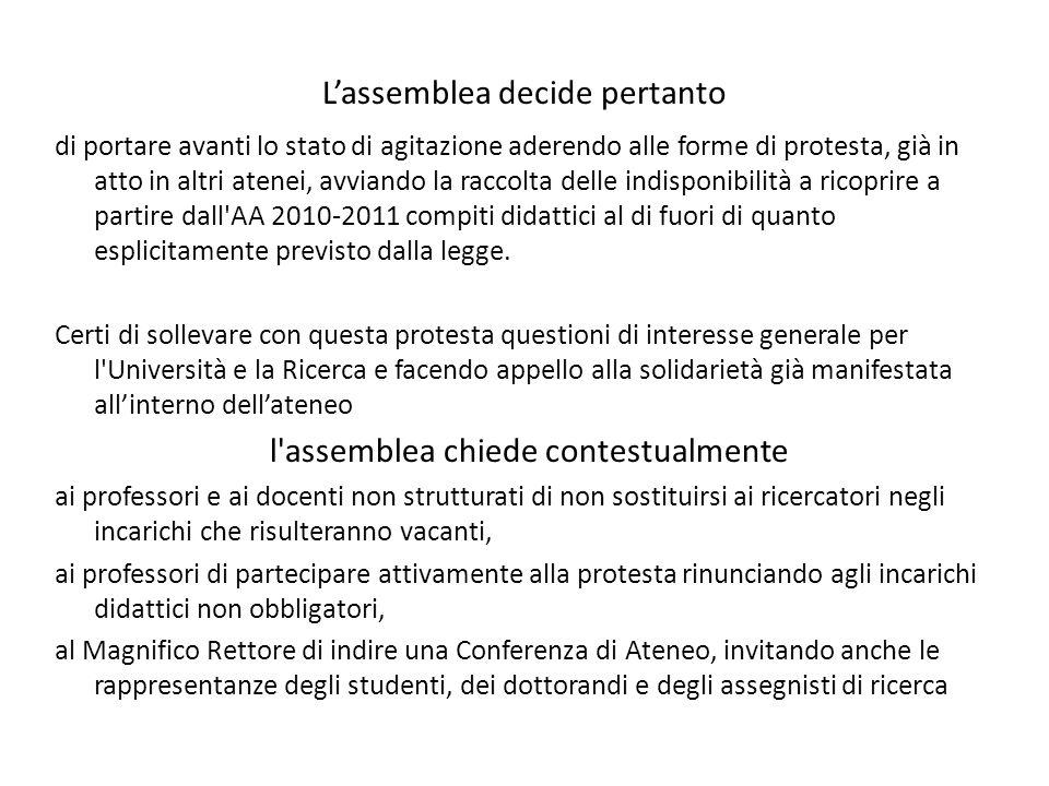 L'assemblea decide pertanto di portare avanti lo stato di agitazione aderendo alle forme di protesta, già in atto in altri atenei, avviando la raccolta delle indisponibilità a ricoprire a partire dall AA 2010-2011 compiti didattici al di fuori di quanto esplicitamente previsto dalla legge.