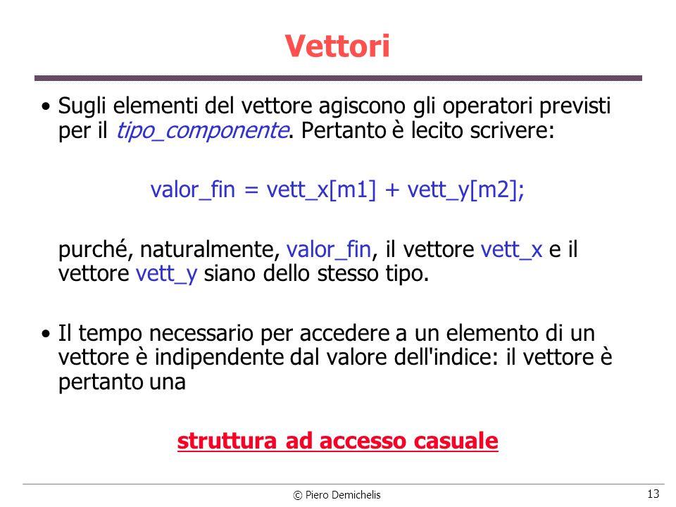 © Piero Demichelis 13 Vettori Sugli elementi del vettore agiscono gli operatori previsti per il tipo_componente.