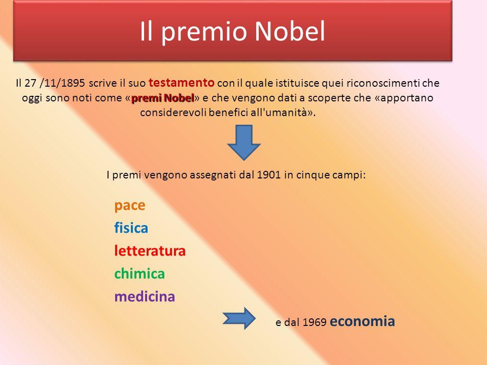 Il premio Nobel I premi vengono assegnati dal 1901 in cinque campi: pace letteratura chimica medicina fisica premi Nobel Il 27 /11/1895 scrive il suo