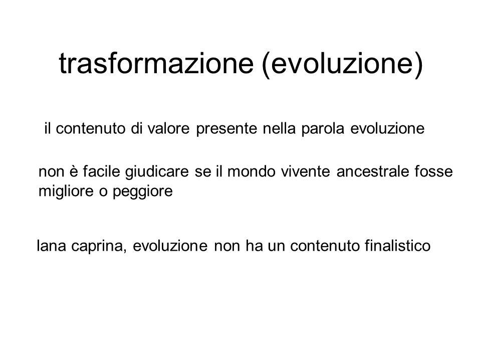 trasformazione (evoluzione) il contenuto di valore presente nella parola evoluzione non è facile giudicare se il mondo vivente ancestrale fosse migliore o peggiore lana caprina, evoluzione non ha un contenuto finalistico