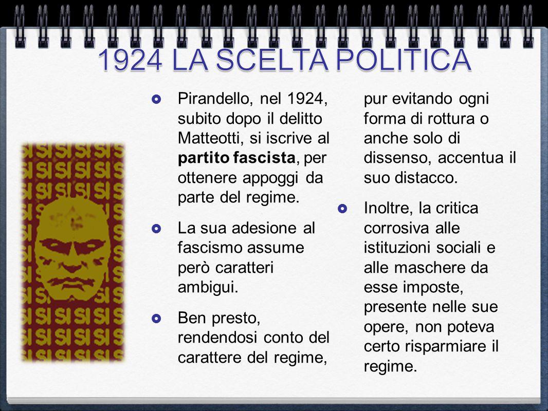  Pirandello, nel 1924, subito dopo il delitto Matteotti, si iscrive al partito fascista, per ottenere appoggi da parte del regime.  La sua adesione