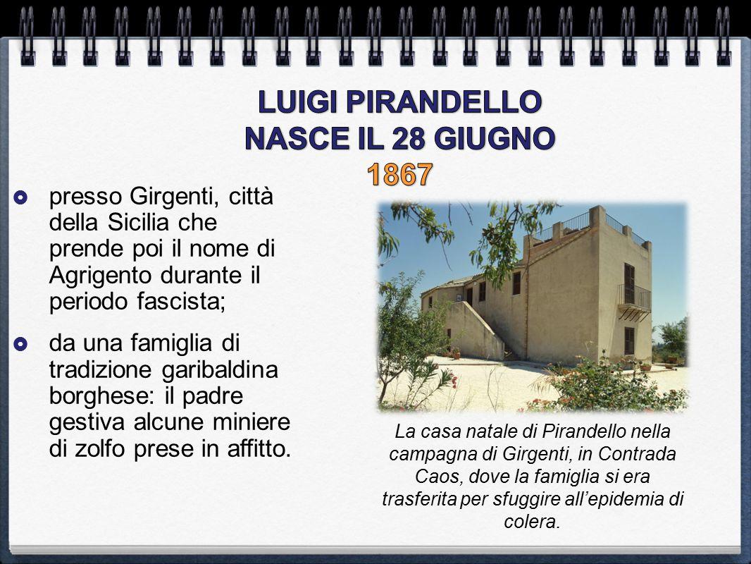  presso Girgenti, città della Sicilia che prende poi il nome di Agrigento durante il periodo fascista;  da una famiglia di tradizione garibaldina bo