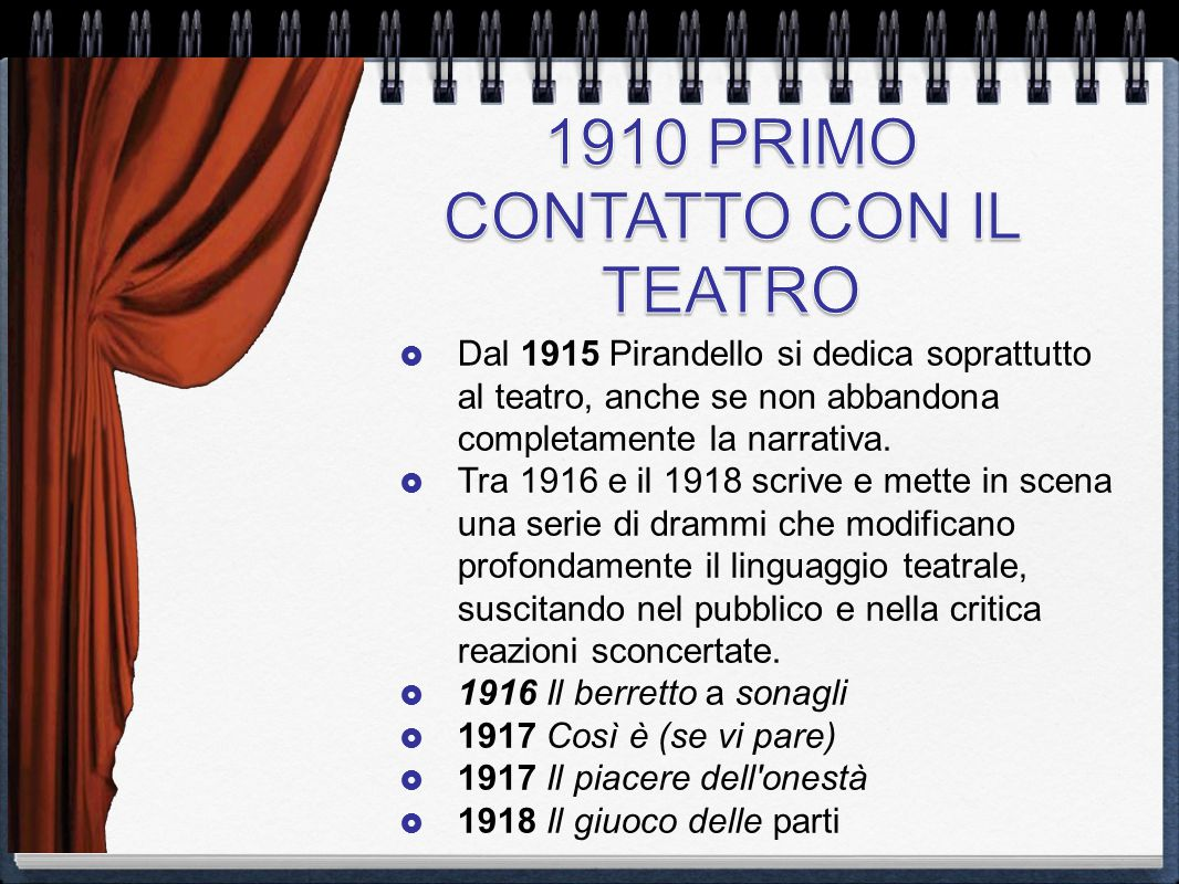  Dal 1915 Pirandello si dedica soprattutto al teatro, anche se non abbandona completamente la narrativa.  Tra 1916 e il 1918 scrive e mette in scena