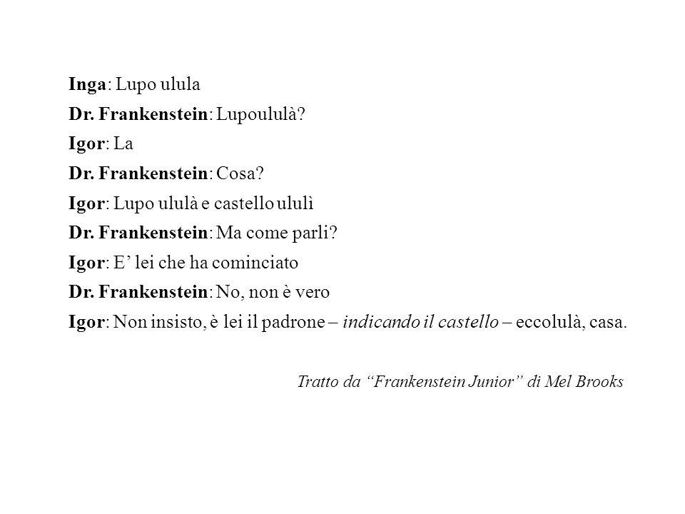 Inga: Lupo ulula Dr. Frankenstein: Lupoululà. Igor: La Dr.
