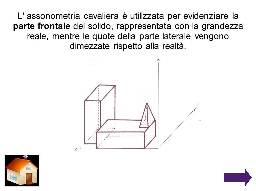L' assonometria cavaliera è utilizzata per evidenziare la parte frontale del solido, rappresentata con la grandezza reale, mentre le quote della parte