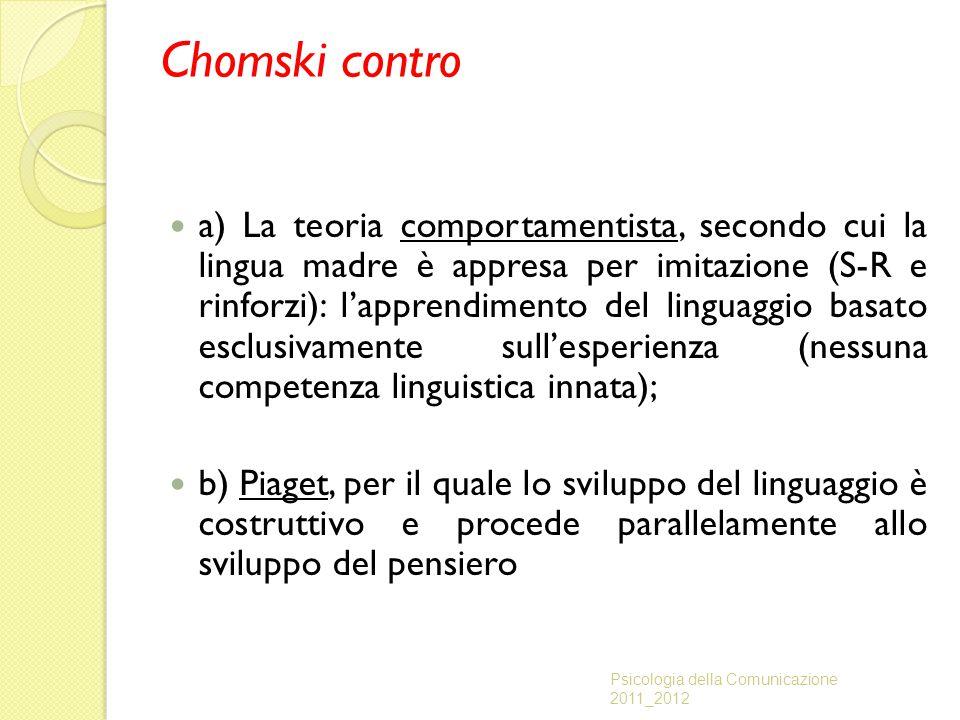 Chomski contro a) La teoria comportamentista, secondo cui la lingua madre è appresa per imitazione (S-R e rinforzi): l'apprendimento del linguaggio ba
