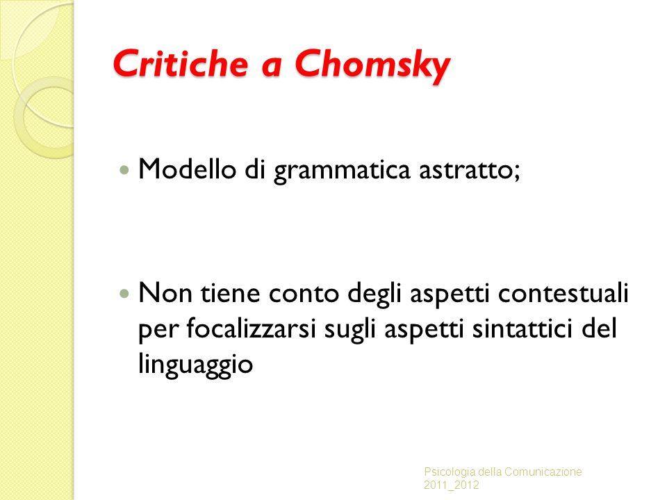 Critiche a Chomsky Modello di grammatica astratto; Non tiene conto degli aspetti contestuali per focalizzarsi sugli aspetti sintattici del linguaggio