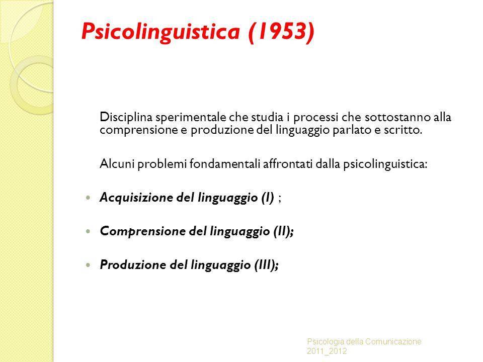 Psicolinguistica (1953) Disciplina sperimentale che studia i processi che sottostanno alla comprensione e produzione del linguaggio parlato e scritto.