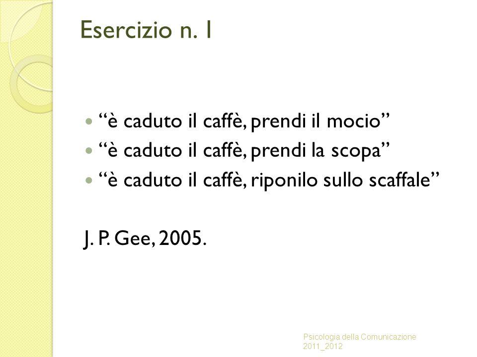 """Esercizio n. 1 """"è caduto il caffè, prendi il mocio"""" """"è caduto il caffè, prendi la scopa"""" """"è caduto il caffè, riponilo sullo scaffale"""" J. P. Gee, 2005."""