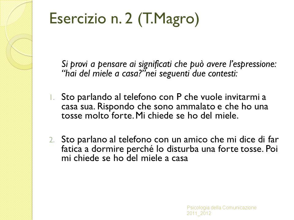 """Esercizio n. 2 (T.Magro) Si provi a pensare ai significati che può avere l'espressione: """"hai del miele a casa?""""nei seguenti due contesti: 1. Sto parla"""