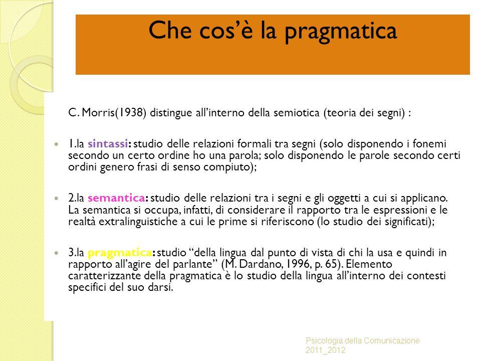 Che cos'è la pragmatica C. Morris(1938) distingue all'interno della semiotica (teoria dei segni) : 1.la sintassi: studio delle relazioni formali tra s
