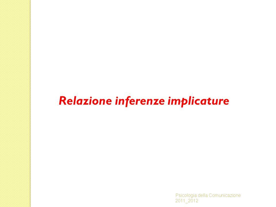 Relazione inferenze implicature Psicologia della Comunicazione 2011_2012