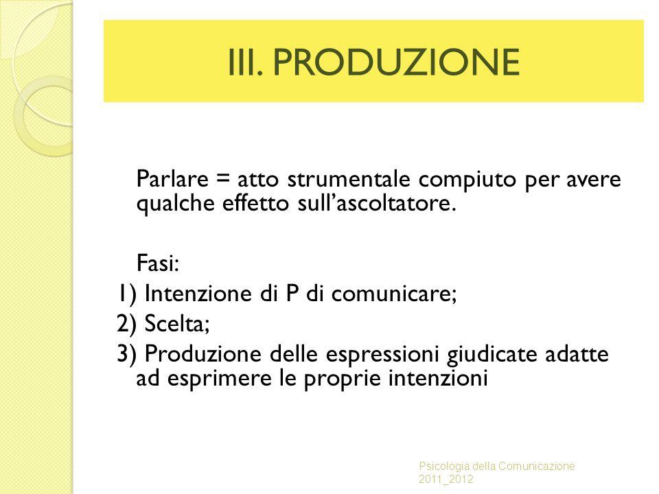III. PRODUZIONE Parlare = atto strumentale compiuto per avere qualche effetto sull'ascoltatore. Fasi: 1) Intenzione di P di comunicare; 2) Scelta; 3)