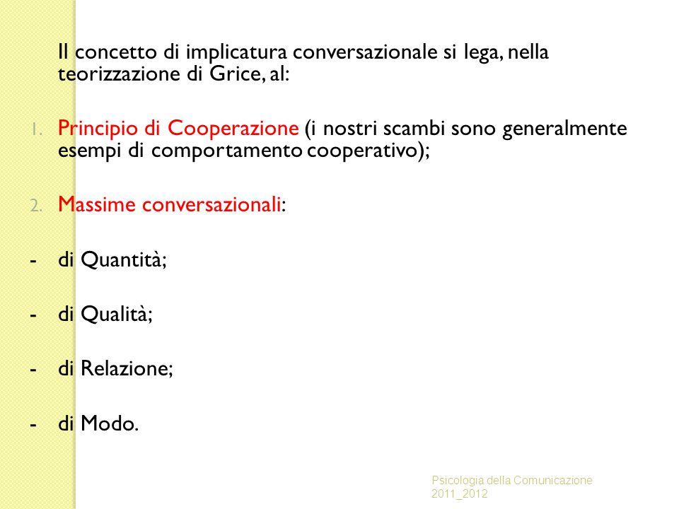 Il concetto di implicatura conversazionale si lega, nella teorizzazione di Grice, al: 1. Principio di Cooperazione (i nostri scambi sono generalmente