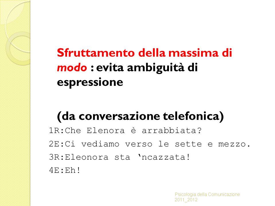 Sfruttamento della massima di modo : evita ambiguità di espressione (da conversazione telefonica) 1R:Che Elenora è arrabbiata? 2E:Ci vediamo verso le