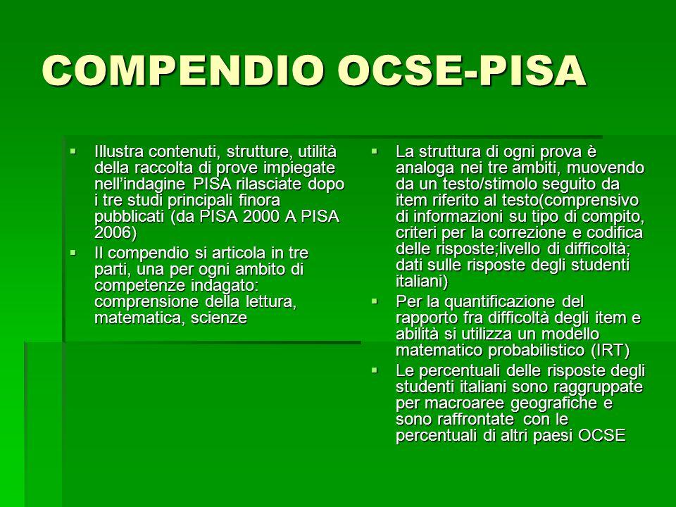 COMPENDIO OCSE-PISA  Illustra contenuti, strutture, utilità della raccolta di prove impiegate nell'indagine PISA rilasciate dopo i tre studi principali finora pubblicati (da PISA 2000 A PISA 2006)  Il compendio si articola in tre parti, una per ogni ambito di competenze indagato: comprensione della lettura, matematica, scienze  La struttura di ogni prova è analoga nei tre ambiti, muovendo da un testo/stimolo seguito da item riferito al testo(comprensivo di informazioni su tipo di compito, criteri per la correzione e codifica delle risposte;livello di difficoltà; dati sulle risposte degli studenti italiani)  Per la quantificazione del rapporto fra difficoltà degli item e abilità si utilizza un modello matematico probabilistico (IRT)  Le percentuali delle risposte degli studenti italiani sono raggruppate per macroaree geografiche e sono raffrontate con le percentuali di altri paesi OCSE