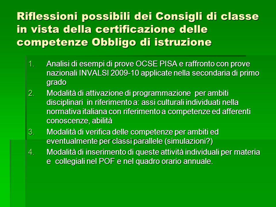 Riflessioni possibili dei Consigli di classe in vista della certificazione delle competenze Obbligo di istruzione 1.Analisi di esempi di prove OCSE PI