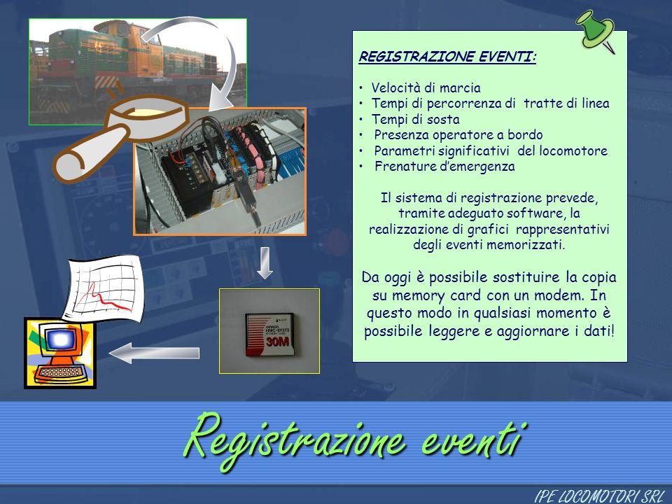 Registrazione eventi REGISTRAZIONE EVENTI: Velocità di marcia Tempi di percorrenza di tratte di linea Tempi di sosta Presenza operatore a bordo Parame