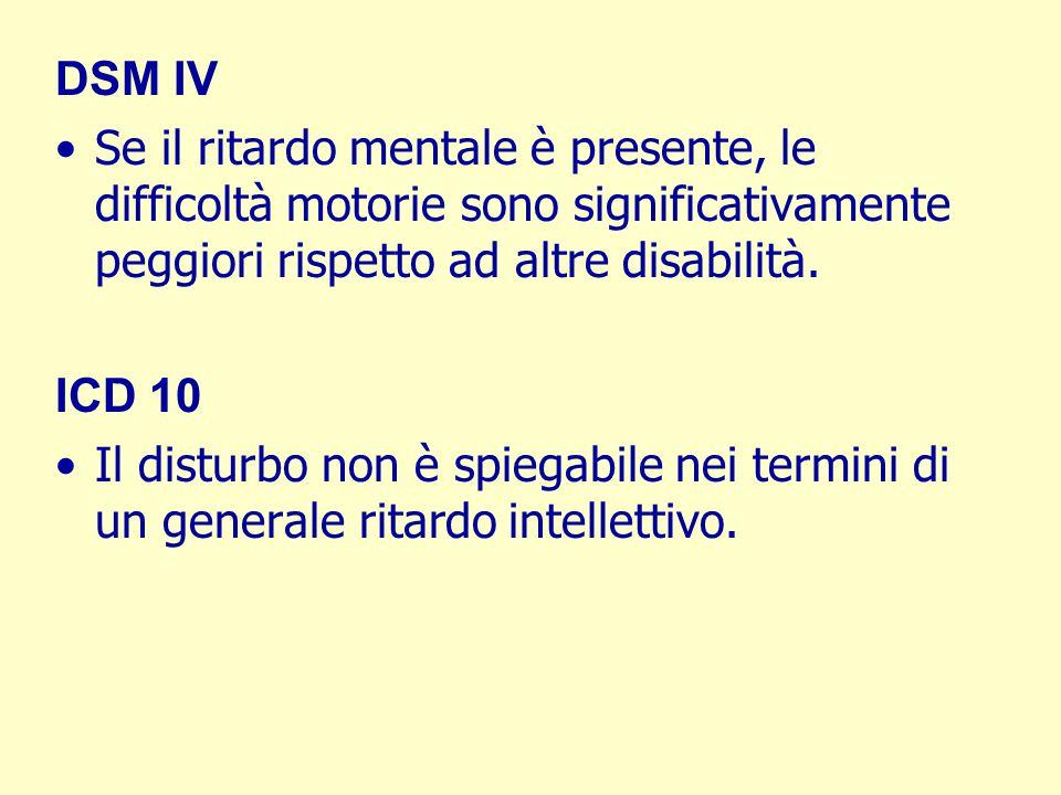 DSM IV Se il ritardo mentale è presente, le difficoltà motorie sono significativamente peggiori rispetto ad altre disabilità. ICD 10 Il disturbo non è