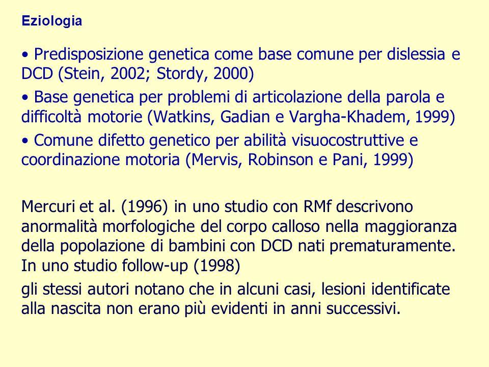Eziologia Predisposizione genetica come base comune per dislessia e DCD (Stein, 2002; Stordy, 2000) Base genetica per problemi di articolazione della