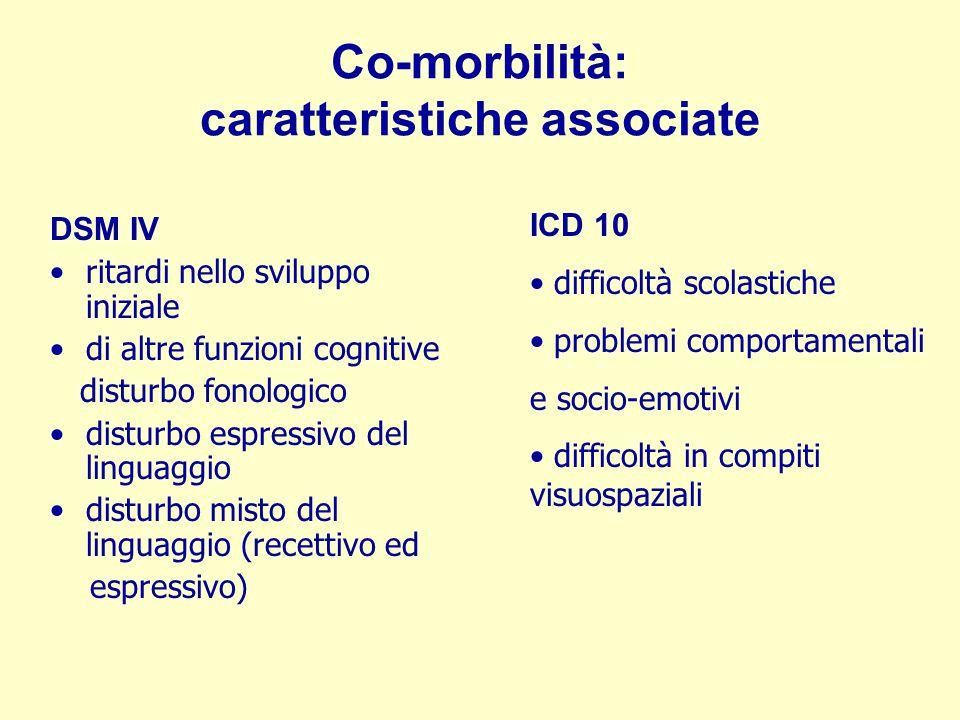 Co-morbilità: caratteristiche associate DSM IV ritardi nello sviluppo iniziale di altre funzioni cognitive disturbo fonologico disturbo espressivo del