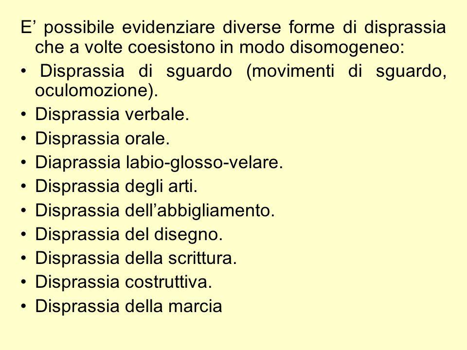 E' possibile evidenziare diverse forme di disprassia che a volte coesistono in modo disomogeneo: Disprassia di sguardo (movimenti di sguardo, oculomozione).