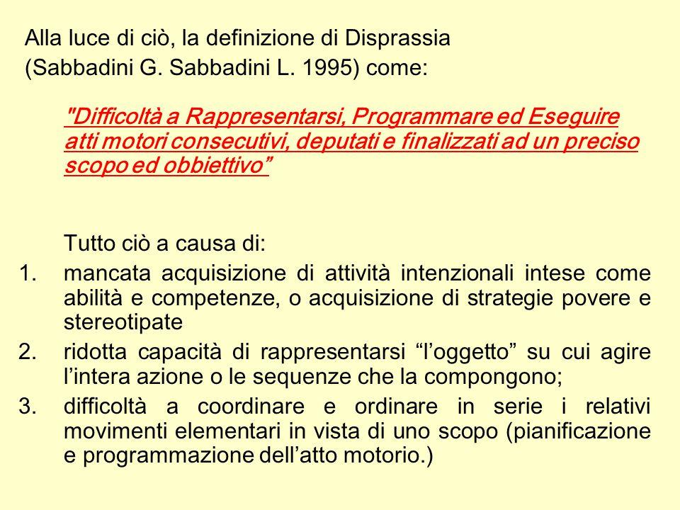 Alla luce di ciò, la definizione di Disprassia (Sabbadini G. Sabbadini L. 1995) come: