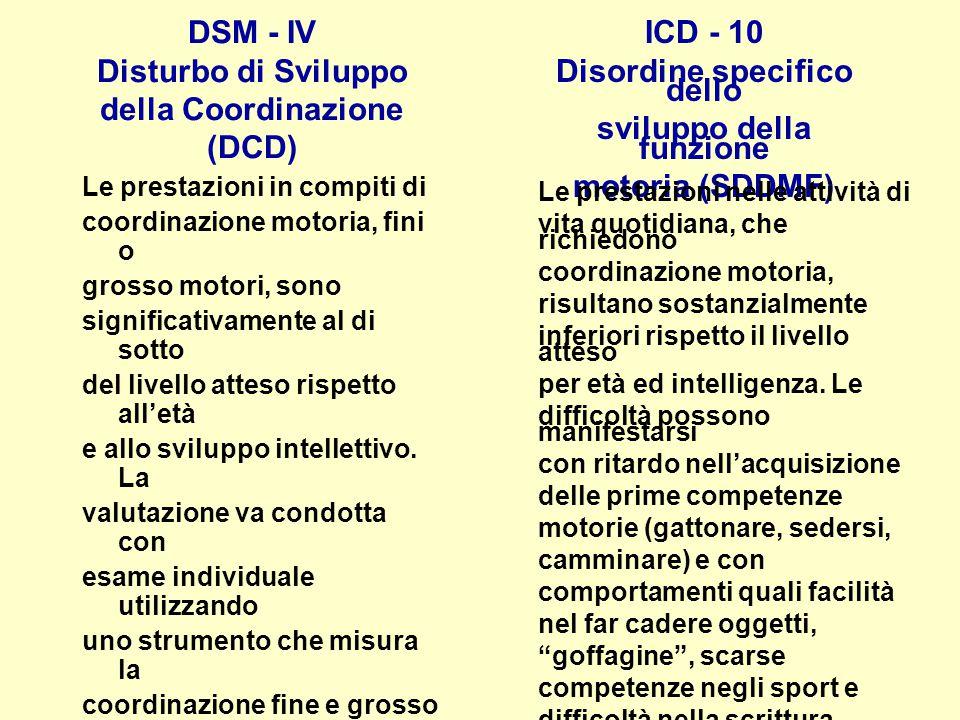 DSM - IV Disturbo di Sviluppo della Coordinazione (DCD) Le prestazioni in compiti di coordinazione motoria, fini o grosso motori, sono significativame