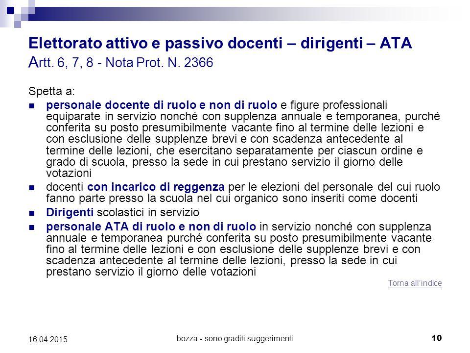 bozza - sono graditi suggerimenti10 16.04.2015 Elettorato attivo e passivo docenti – dirigenti – ATA A rtt. 6, 7, 8 - Nota Prot. N. 2366 Spetta a: per