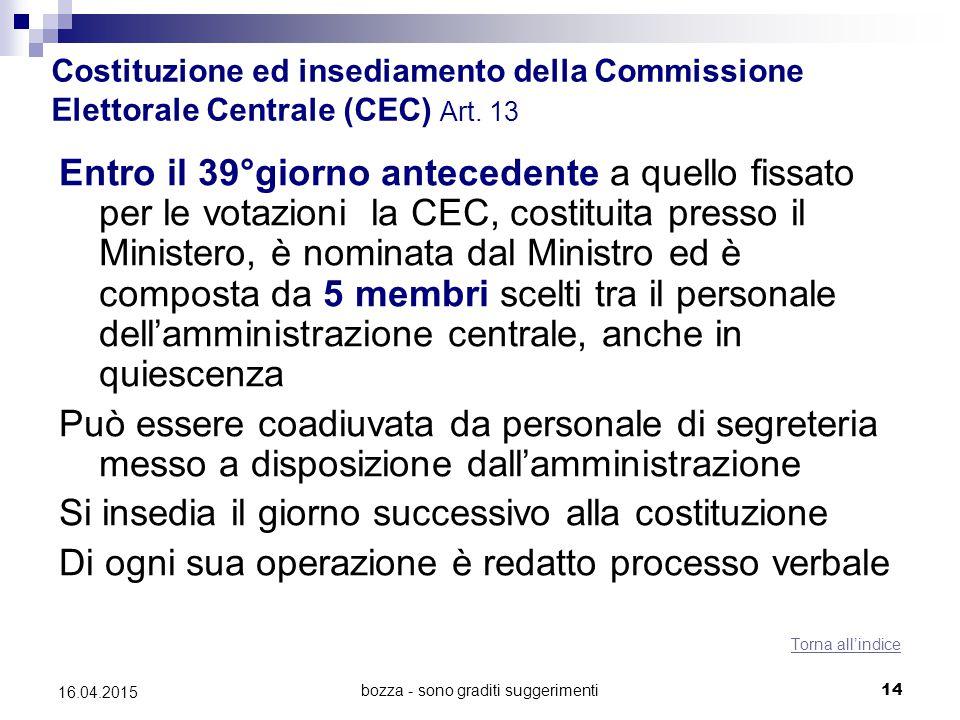 bozza - sono graditi suggerimenti14 16.04.2015 Costituzione ed insediamento della Commissione Elettorale Centrale (CEC) Art. 13 Entro il 39°giorno ant